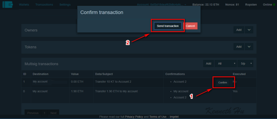 Multisig Wallet transaction confirmation in Gnosis UI