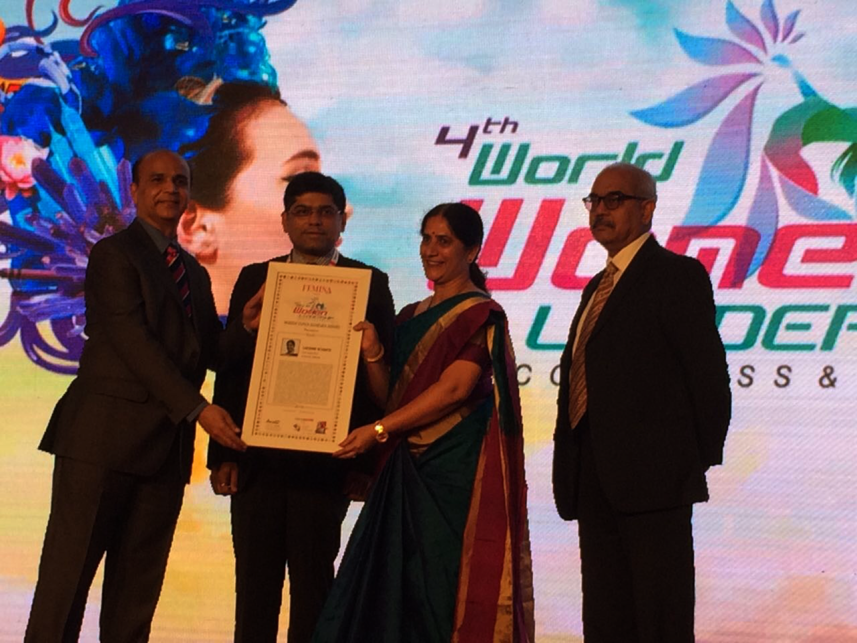 Ms. Lakshmi Achanta honored with the 'Women Super Achiever' award by the World Women Leadership Congress